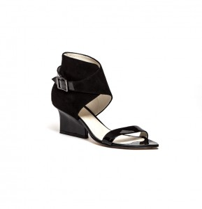 Ruby wrap sandals black patent