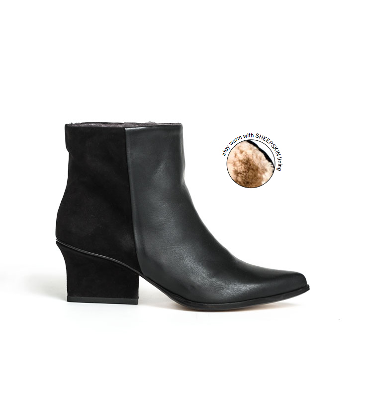 Lou ankle boots in black leather with sheepskin lining, perfect for the cold winter weather! EIJK shoes are Dutch Design, made in Italy. With 6cm high heels perfect for any outfit.