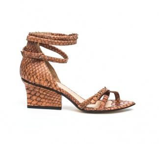 Sid strappy sandals cognac python