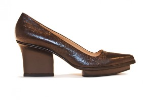 Anne platform pumps dark brown croco