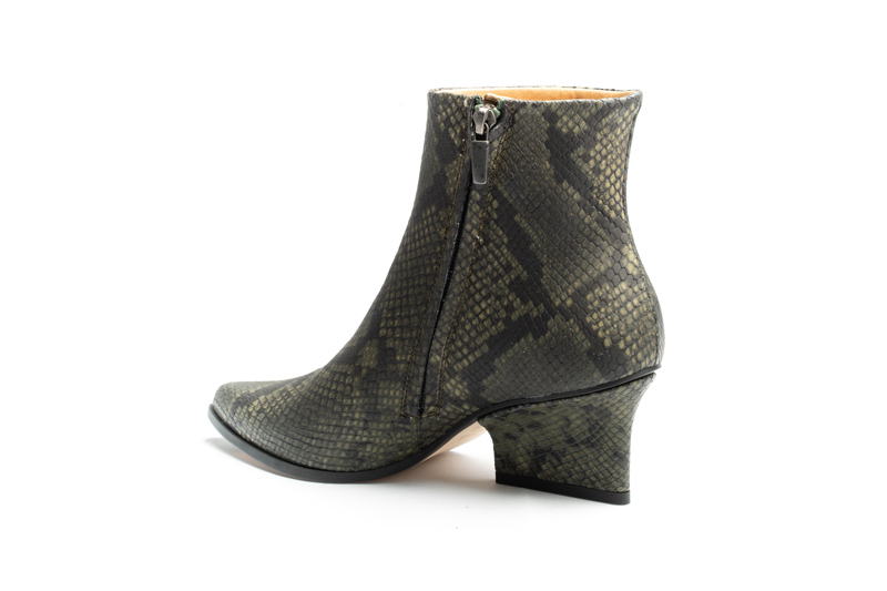 Ryan ankle boots Green python back side view