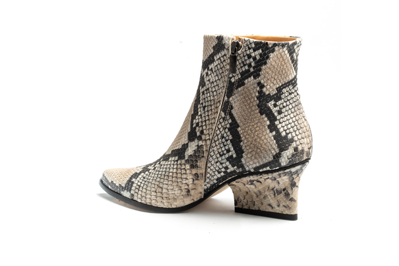 Ryan ankle boots beige python angle back view