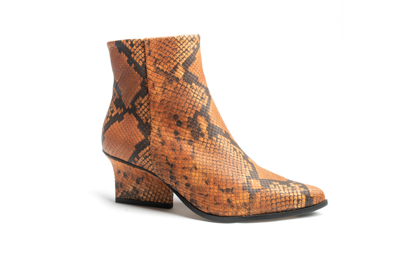 Ryan ankle boots camel python angle view