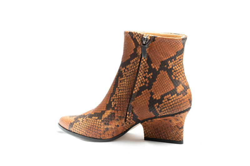 Ryan ankle boots camel python angle back view